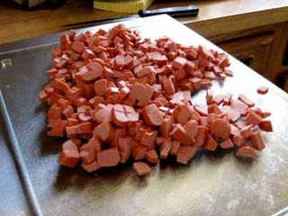 Diced hotdogs