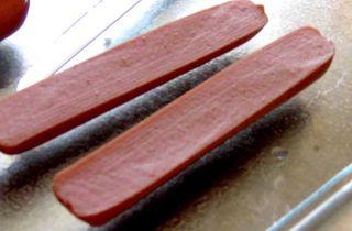 Sliced hotdog