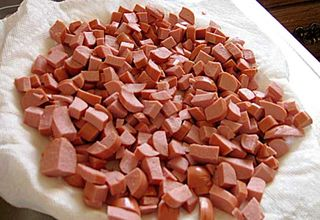 Diced hot dogs, ready to be microwaved