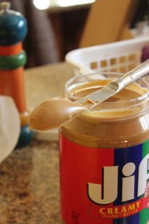 Peanut butter on knife.